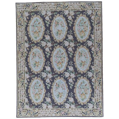 One-of-a-Kind Aubusson Hand-Woven Wool Black/Blue Area Rug Rug Size: Rectangle 79 x 10
