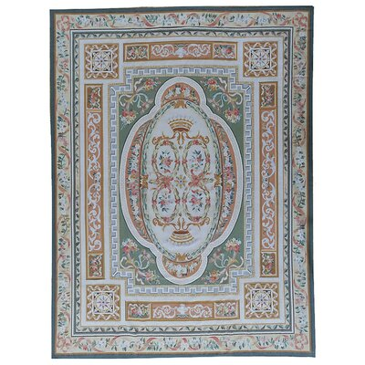 Aubusson Hand-Woven Wool Beige/Green Area Rug Rug Size: Rectangle 6 x 83