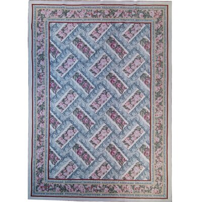 Aubusson Hand-Woven Wool Pink/Blue Area Rug Rug Size: Rectangle 89 x 122