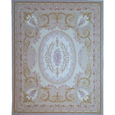 Aubusson Hand-Woven Wool Beige/Pink Area Rug