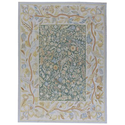 Aubusson Hand-Woven Wool Blue/Green Area Rug Rug Size: Rectangle 92 x 125