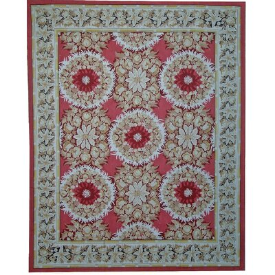 Aubusson Hand-Woven Wool Red/Blue/Green Area Rug Rug Size: Rectangle 910 x 14