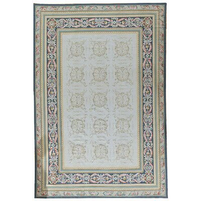 Aubusson Hand-Woven Wool Beige/Blue Area Rug