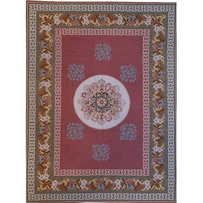 One-of-a-Kind Aubusson Hand-Woven Wool Red/Beige/Green Area Rug