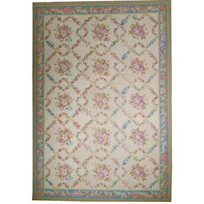 One-of-a-Kind Aubusson Hand-Woven Wool Ivory/Green/Blue Area Rug