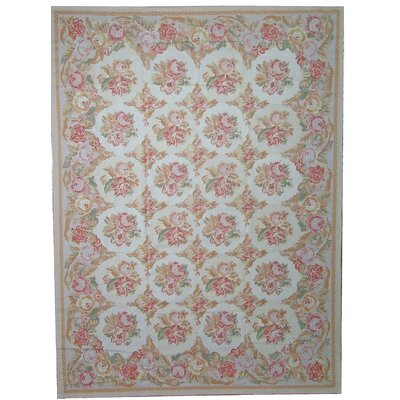 Aubusson Hand-Woven Wool Ivory/Blue/Pink Area Rug Rug Size: Rectangle 810 x 1111