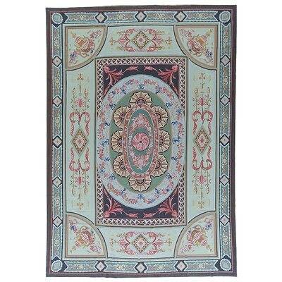 Aubusson Hand-Woven Wool Green/Blue/Pink Area Rug