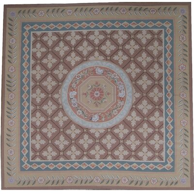 One-of-a-Kind Aubusson Hand-Woven Wool Beige/Brown/Blue Area Rug Rug Size: Rectangle 6 0 x 91