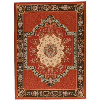 One-of-a-Kind Aubusson Hand-Woven Wool Red/Beige/Black Area Rug Rug Size: Rectangle 9 x 12 2