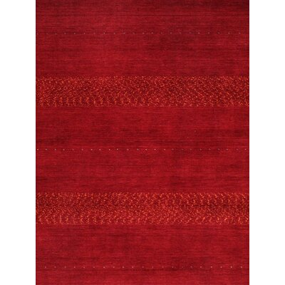 Gabbeh Hand-Knotted Wool Red Area Rug Rug Size: Rectangle 7'11