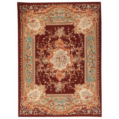 One-of-a-Kind Aubusson Hand Woven Wool Red Area Rug Rug Size: Rectangle 102 x 1310