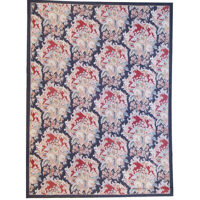 One-of-a-Kind Aubusson Hand Woven Wool Red/Navy Area Rug Rug Size: Rectangle 111 x 162