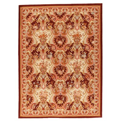 One-of-a-Kind Aubusson Hand Woven Wool Brown Area Rug
