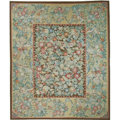 One-of-a-Kind Aubusson Hand Woven Wool Green/Beige Area Rug Rug Size: Rectangle 124 x 1710