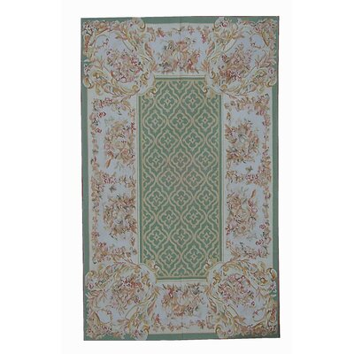 One-of-a-Kind Aubusson Hand Woven Wool Green/Pink Area Rug Rug Size: Rectangle 810 x 1111