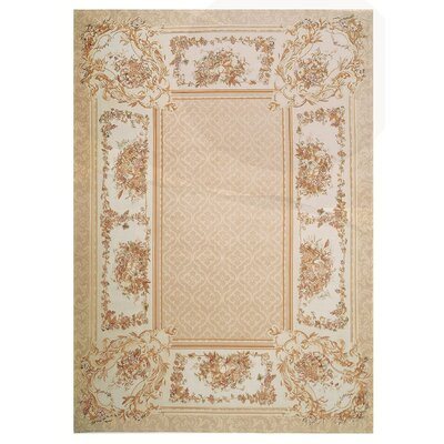 One-of-a-Kind Aubusson Hand Woven Wool Beige Area Rug Rug Size: Rectangle 710 x 102