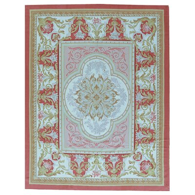 One-of-a-Kind Aubusson Hand Woven Wool Red Area Rug Rug Size: Rectangle 910 x 14