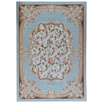 One-of-a-Kind Aubusson Hand Woven Wool Turquoise Area Rug