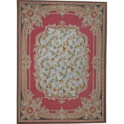 One-of-a-Kind Aubusson Hand Woven Wool Red Area Rug