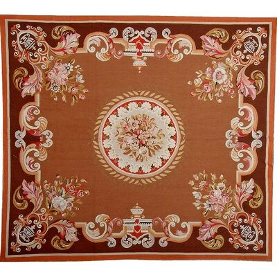 One-of-a-Kind Aubusson Hand Woven Wool Brown/Orange Area Rug Rug Size: Rectangle 59 x 68