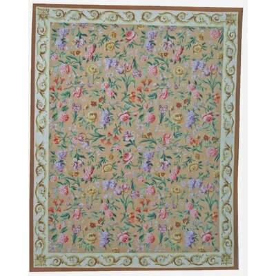 One-of-a-Kind Aubusson Hand Woven Wool Beige/Brown/Green Area Rug