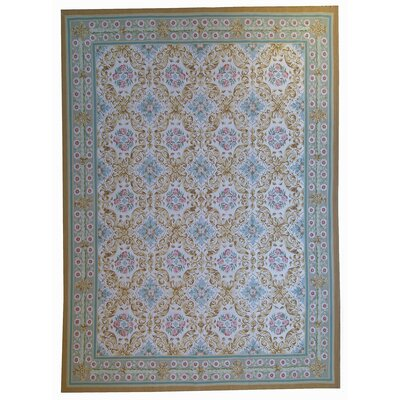 One-of-a-Kind Aubusson Hand Woven Wool Beige/Green Area Rug Rug Size: Rectangle 108 x 16