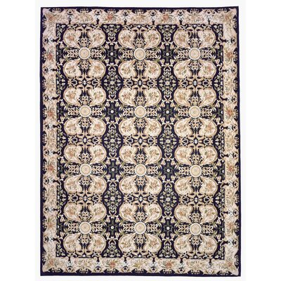 Aubusson Hand Woven Wool Black/Beige Area Rug Rug Size: Rectangle 101 x 1311