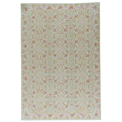 Aubusson Hand Woven Wool Beige Area Rug