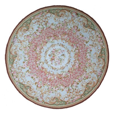 Aubusson Hand Woven Wool Pink/Green Area Rug Rug Size: Round 7
