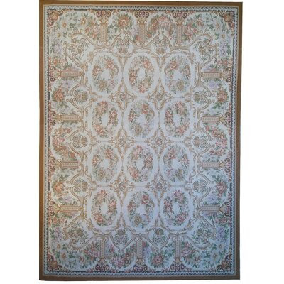 One-of-a-Kind Aubusson Hand Woven Wool Ivory/Brown Area Rug Rug Size: Rectangle 79 x 101