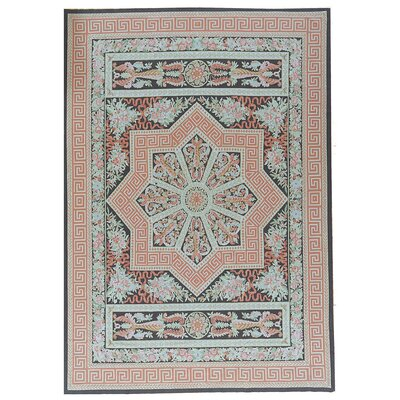 One-of-a-Kind Aubusson Hand Woven Wool Coral/Teal Area Rug Rug Size: Rectangle 99 x 1311