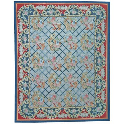 One-of-a-Kind Aubusson Hand Woven Wool Navy/Red Area Rug