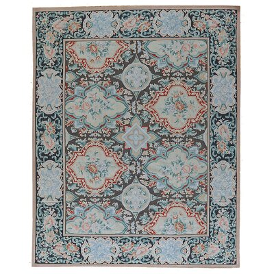 Aubusson Hand Woven Wool Black/Red Area Rug Rug Size: Rectangle 711 x  911