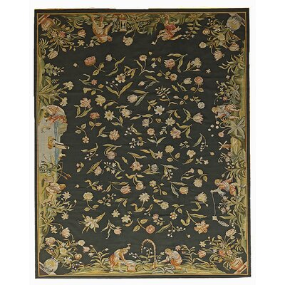 Aubusson Hand Woven Wool Black/Yellow Area Rug Rug Size: Rectangle 61 x  91