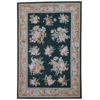 Aubusson Hand Woven Wool Black/Beige Area Rug Rug Size: Rectangle 4 x 6