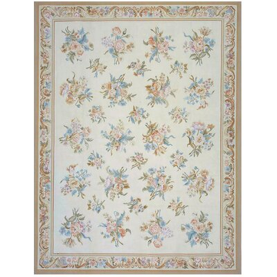 Aubusson Hand Woven Wool Ivory Area Rug Rug Size: Rectangle 10 x 14