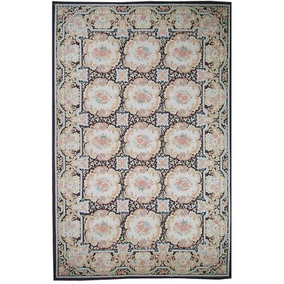Aubusson Hand Woven Wool Beige/Ivory Area Rug Rug Size: Rectangle 89 x 1210