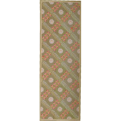 One-of-a-Kind Aubusson Hand Woven Wool Green Area Rug