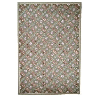 One-of-a-Kind Aubusson Hand Woven Wool Green Area Rug Rug Size: Rectangle 8 x 10