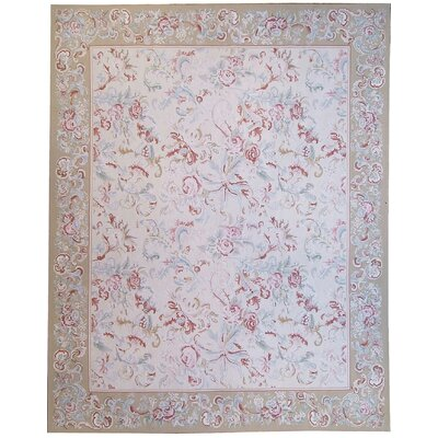 Aubusson Hand Woven Wool Beige Area Rug Rug Size: Rectangle 910 x 141