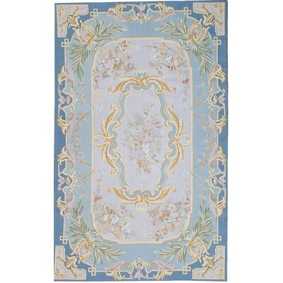 One-of-a-Kind Aubusson Hand Woven Wool Blue/Pink Area Rug