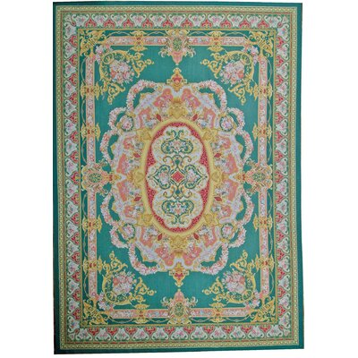 Aubusson Hand Woven Wool Green Area Rug Rug Size: Rectangle 910 x 1310