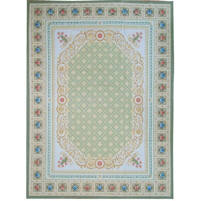 Aubusson Hand Woven Wool Green Area Rug Rug Size: Rectangle 9 1 x 12 4