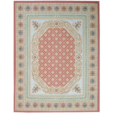 Aubusson Hand Woven Wool Red/Light Blue Area Rug Rug Size: Rectangle 9 x 12 4