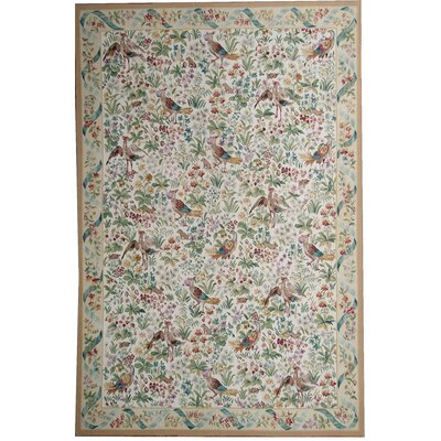 Aubusson Hand Woven Wool Green/Brown Area Rug Rug Size: Rectangle 8 x 10 1
