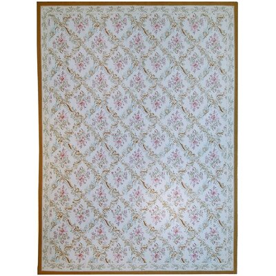 Aubusson Hand Woven Wool Ivory Area Rug