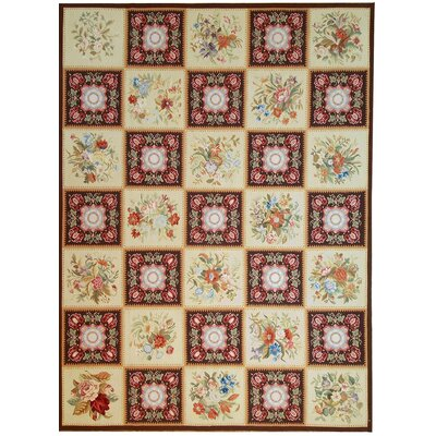 Aubusson Hand Woven Wool Red/Yellow Area Rug