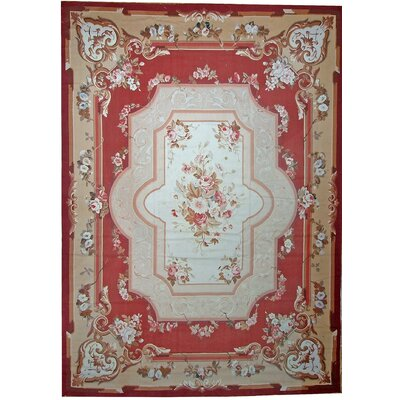 One-of-a-Kind Aubusson Hand Woven Wool Red/Beige Area Rug Rug Size: Rectangle 103 x 146