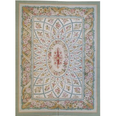 One-of-a-Kind Aubusson Hand Woven Wool Gray Area Rug