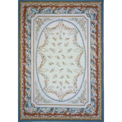 Aubusson Hand Woven Wool Ivory/Blue/Brown Area Rug Rug Size: Rectangle 8 x 10 5